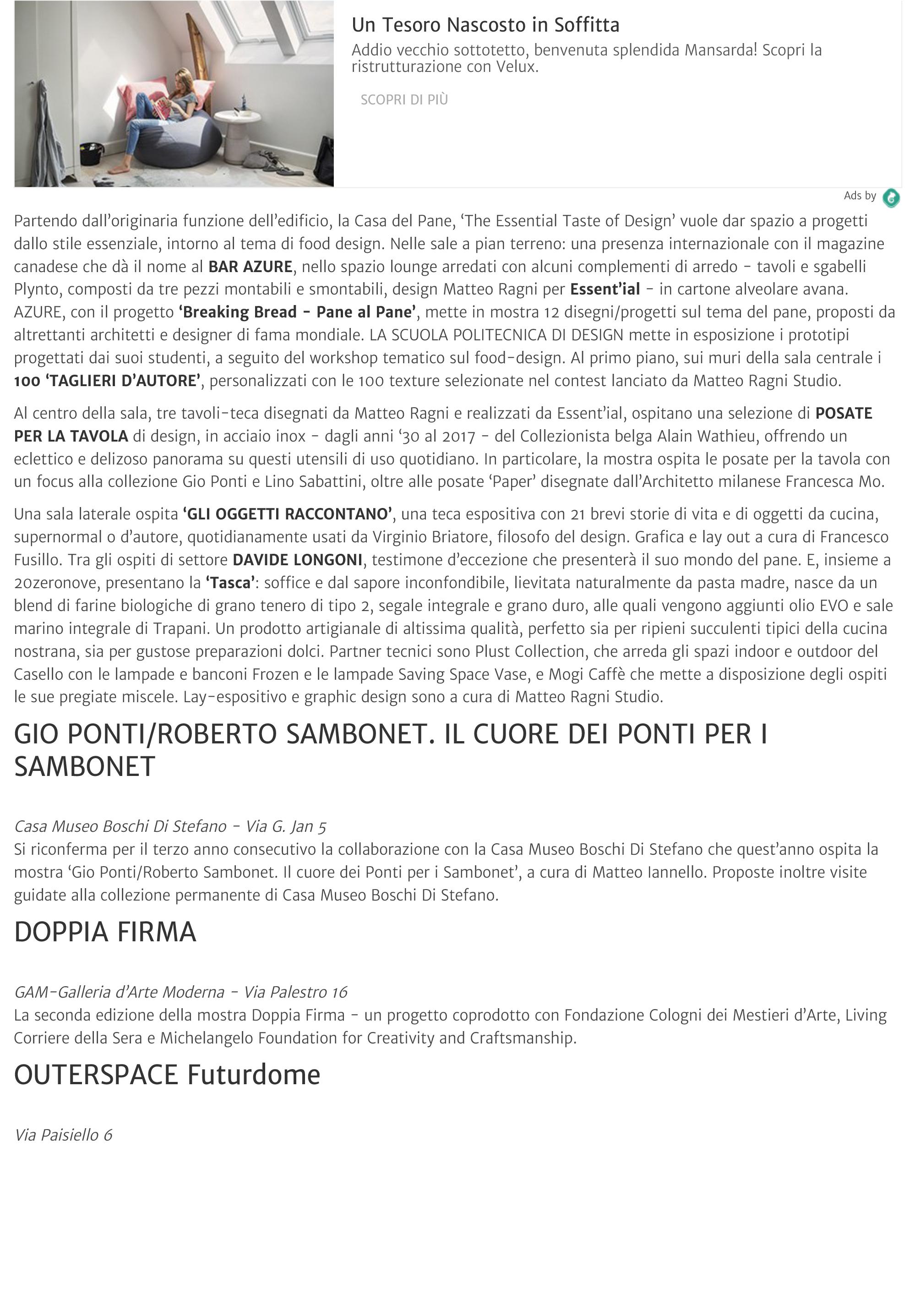Fuorisalone 2017 eventi |Porta Venezia in Design | arte | design